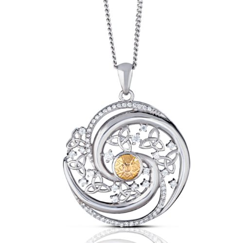 Solstice Swirls Pendant with 18kt Gold Bead Medium Version