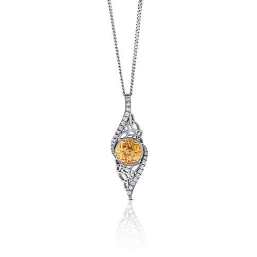 Solstice Twisted Trinity Pendant with 18K Gold Bead