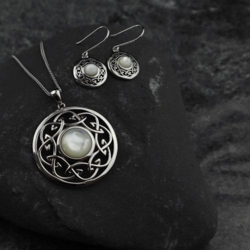 Arian Mother of Pearl Celtic Knot Large Pendant & Earrings