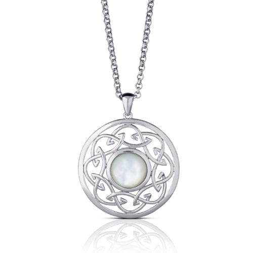 Arian Mother of Pearl Celtic Knot Pendant – Large