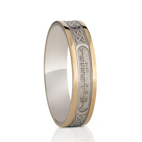Custom Ogham Two Tone Ring