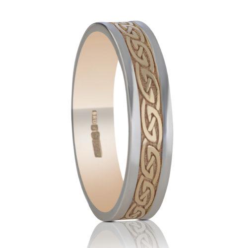 5mm Celtic Waves Wedding Ring-White Rails