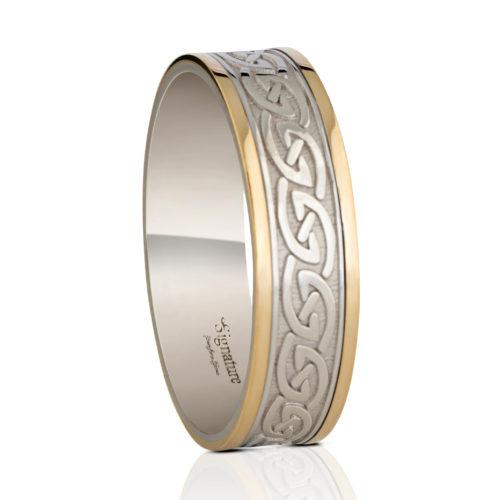 6.5mm Celtic Waves Wedding Ring-White Rails