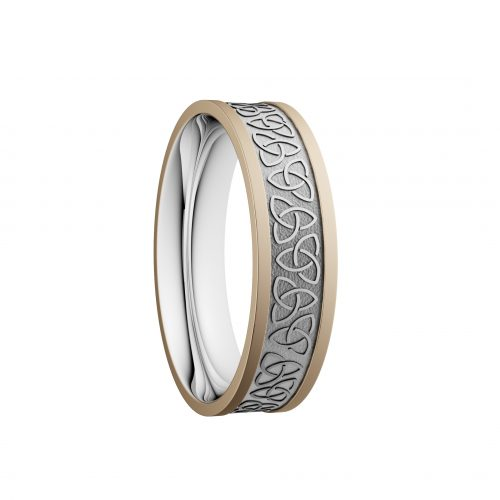 5mm Trinity Wedding Ring - Yellow Rails