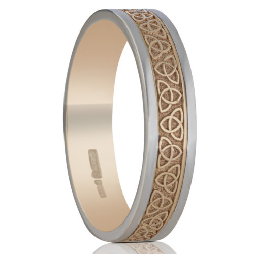 5mm Trinity Wedding Ring with White Rails