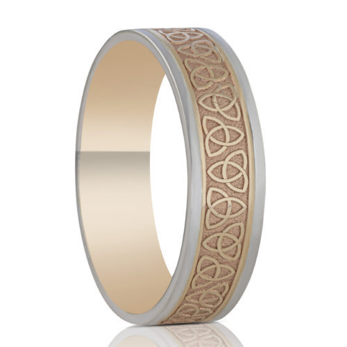 6.5mm Trinity Wedding Ring with White Rails