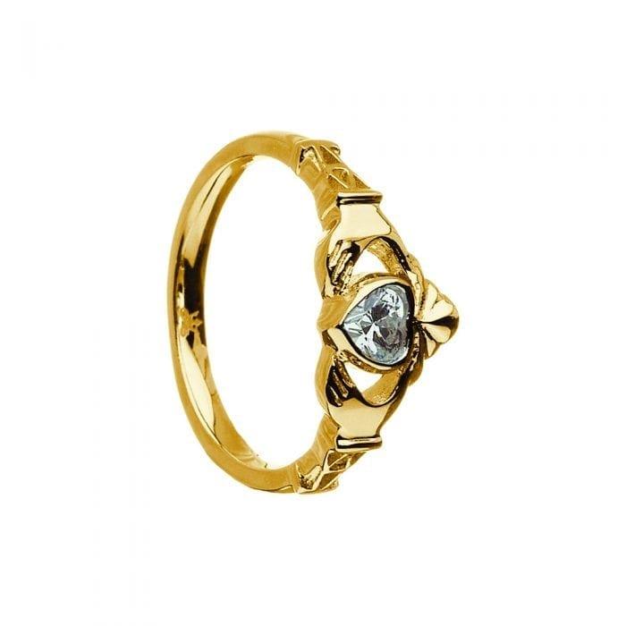 April Birthstone Claddagh Ring