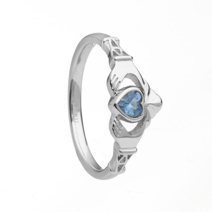March Birthstone Claddagh Ring