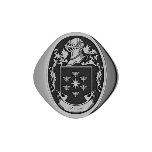 Oval Coat of Arms Ring with Name- Gents Solid Back